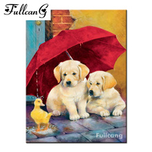 FULLCANG full diamond embroidery red umbrella and dogs diamond painting cross stitch square drill animals mosaic needlework E899