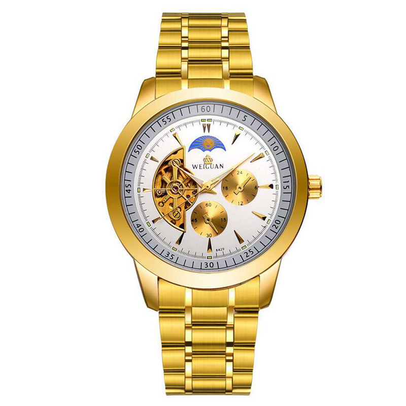 Skeleton Automatic Mechanical Watch Men Gold Plated Stainless Steel Imitation Tourbillon Watch Male Hollow Wristwatches<br>