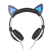 Foldable Headphone Flashing Glowing Cat Ear Stereo Music Earphone Headset With LED Light for PC Laptop Mobile Phone Mp3(China)