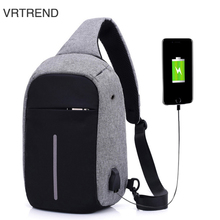 VRTREND Men's Chest Pack Men&Female USB Charging Waterproof Shoulder Crossbody Bag Water Repellent Anti-theft Package Handbag(China)