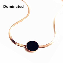 Dominated Simple Black Dot Female Snake Chain Necklace Titanium(China)