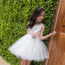 Girl Summer Children Princess Small Girl White Wedding Dress Performance Six One Kids Clothing Flowers Bow