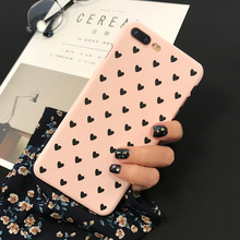 Buy iPhone 8 Plus Hard PC Case Hard Plastic Cover Case iPhone 5 5S SE 6 6S 7 8 Plus Coque Love Heart Print Pink Black Color for $1.41 in AliExpress store