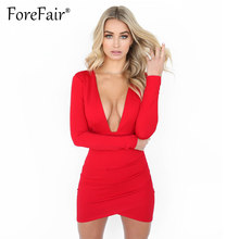 Forefair New Arrival 2018 Women Autumn Winter Long Sleeve Dress Sexy Deep V  Neck Backless Sheath Bodycon Mini Party Dresses Red 7c3a754b4a5f