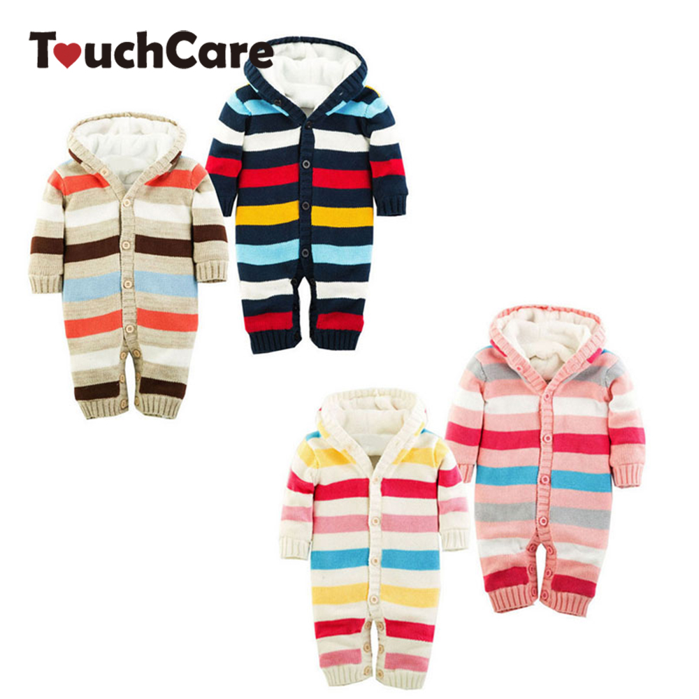 Newborn Winter Warm Thick Baby Boys Girls Jumpsuit Infant Rainbow Color Knitted Sweater Rompers Hooded Outwear Climbing Clothes<br><br>Aliexpress