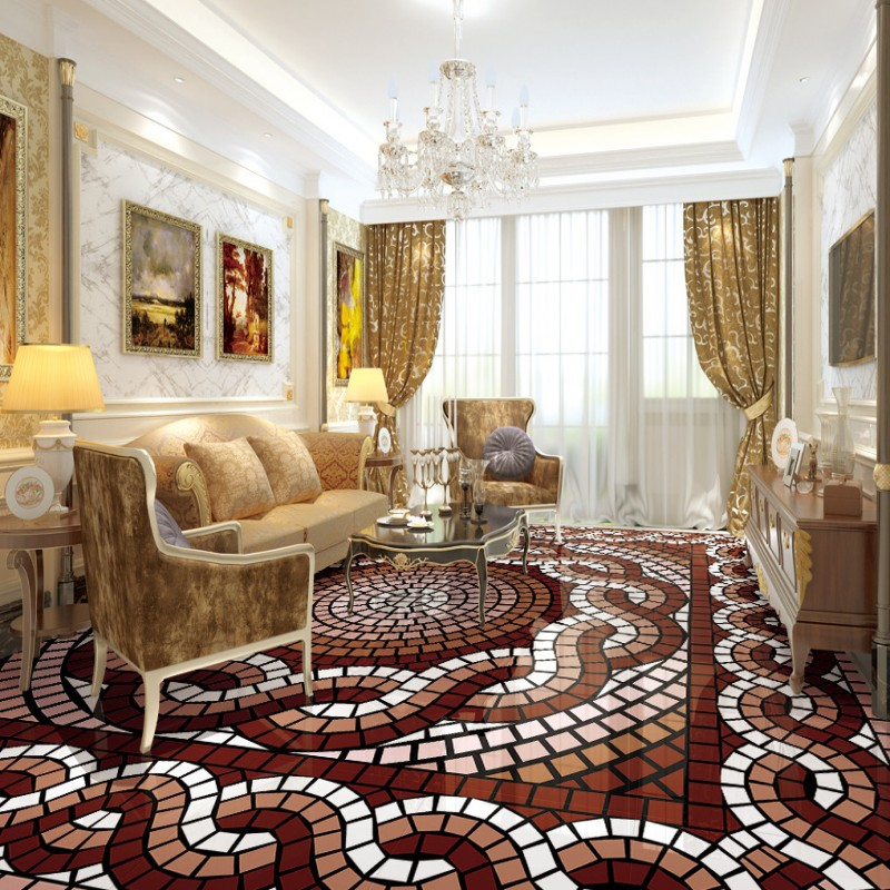 Free shipping waterproof wallpaper roll floor mural living room bedroom home decoration 3d fashion abstract patterned floor<br>