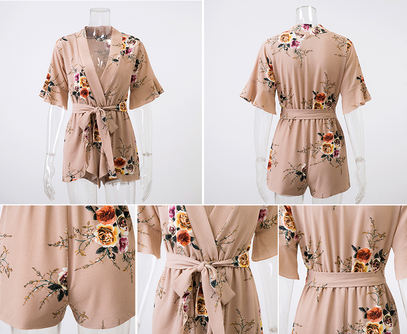 Boho Floral Print Ruffles Playsuits V Neck Jumpsuits Rompers (Us 8-14)