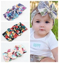 Cotton big bow Bandanas hair bands Headwrap plant flower Turban Tie Knot Soft Head wrap headband FD6560(China)