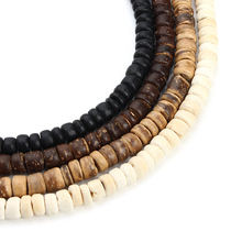 3strand 5mm Natural Oblate Wood Beads Fit Necklace Bracelet Findings Loose Space Wooden Beads For Jewelry Making Houten Kralen(China)