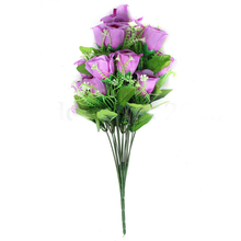 18 Heads Bunch Artificial Silk Flower Roses Bouquet With Gyps Wedding Home Decor Purple