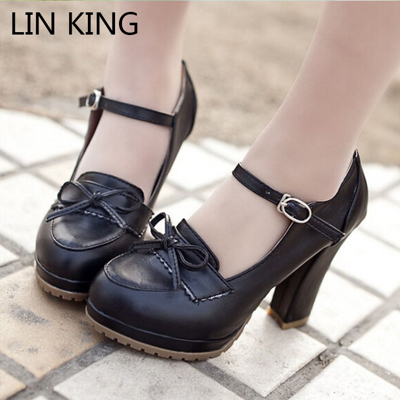 LIN KING Beige Black Brown Princess Lolita bowtie cute sweet Japanese shoes cosplay maid Anim shoes student girls women shoes<br><br>Aliexpress