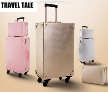 TRAVEL TALE women bavul valiz shining leather suitcase spinner rolling luggage trolley bag