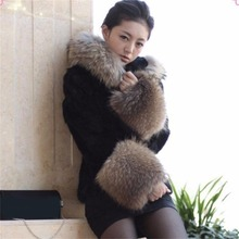 Faux Fur Coat Fox Hair Jacket with hat 2017 winter warm Fur Overcoat Imitation Fur With a Hood Luxury Fake Fur(China)