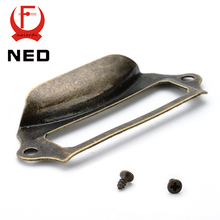 NED Antique Brass Metal Label Pull Frame Handle File Company Name Card Holder For Furniture Cabinet Drawer Box Case Hardware