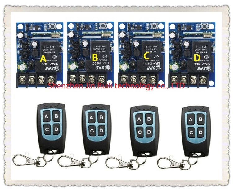 New DC12--48V 12V 24V 36V 48V 1CH 10A RF Wireless Push Remote Control Light Switch System 4 receiver +4 waterproof transmitter<br>