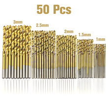 50 Pcs drill bit set HSS 4241 Titanium Coated Twist Drill Bits Tool Set Metric System drill bit woodworking punte trapano