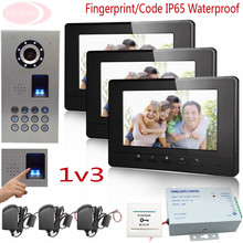 Sunflowervdp Fingerprint Videophone IP65 Waterproof CCD HD Camera With Door Bell Wired Intercom For Private House/Apartments 1v3