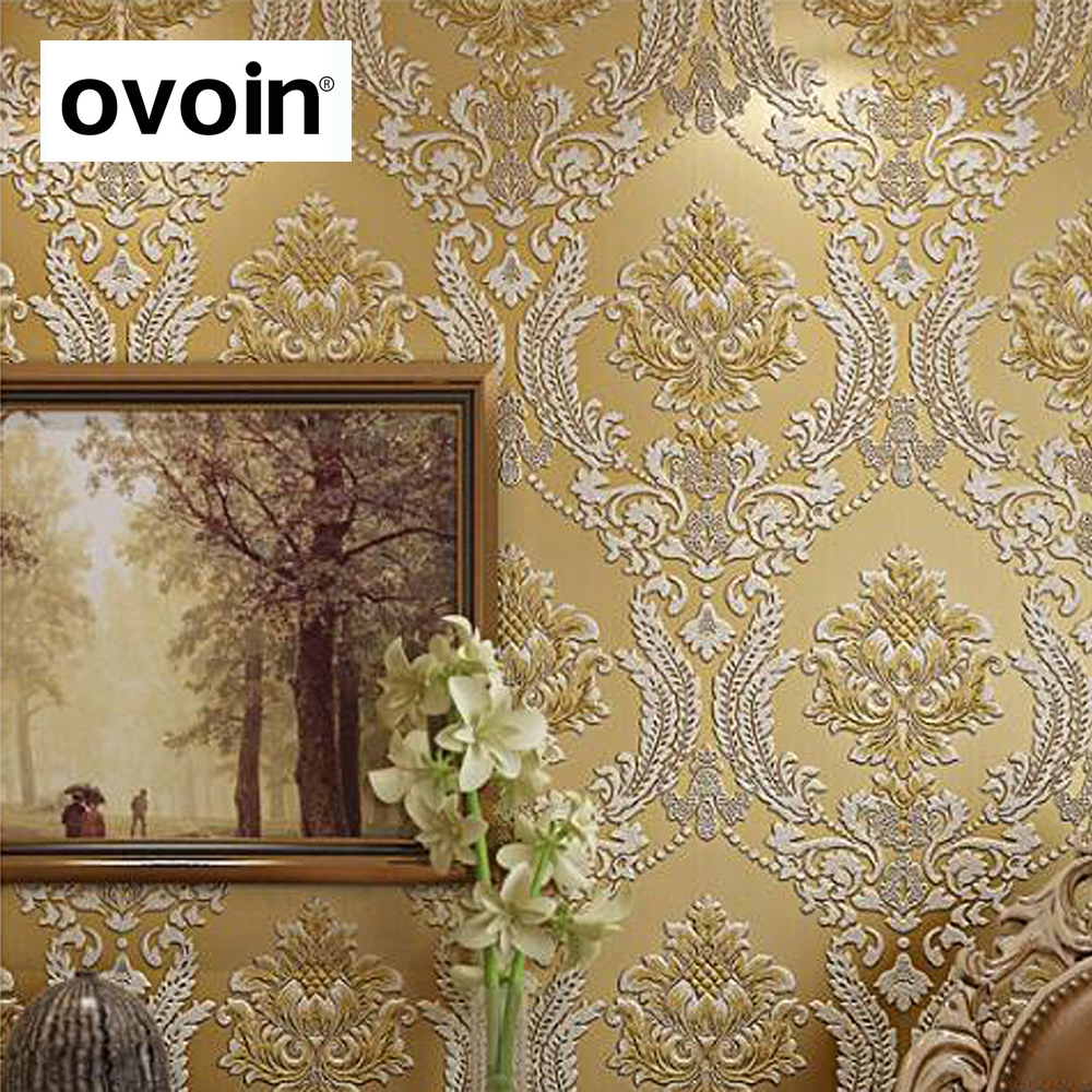 Modern Classic Luxury 3D Embossed Floral Damask Wallpaper Flocked non-woven Wall Paper for Bedroom Living Room &amp; TV background<br>