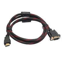 Full HD 1080P HDMI Male to 15 Pin Male VGA Connector Adapter Cable 1.5M Durable L22(China)