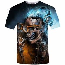 T shirt men Summer Skull Smoking 3D Tshirt Casual Funny Tee Shirt Men Clothes Hot New t shirt men Plus Size 5XL(China)