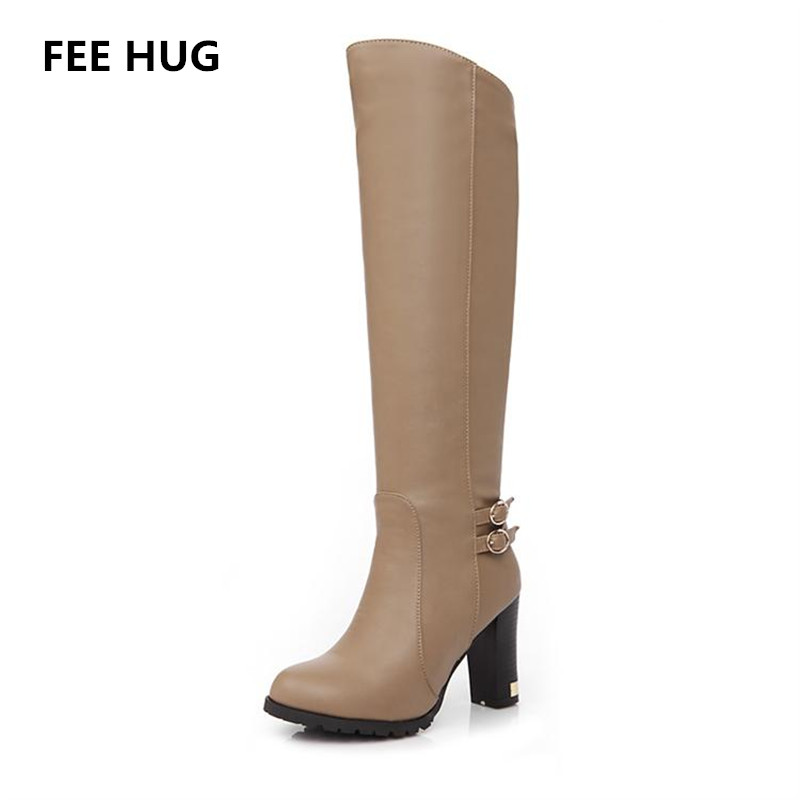 Fashion Italy Knee-High Boots Winter Womans Soft Leather Fashion Side Zippers New Female Thick Heel Tall Boots Shoes Plus Size<br>