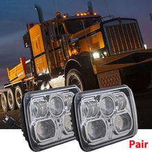 Universal 7x6 54W Square High Low Beam H4 LED For Jeep Projector Headlights