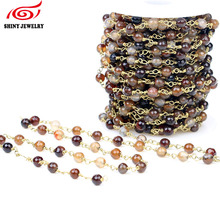 Buy Finding 5Meter Wire Wrapped Beaded Chains Gold Plating Rosary Chain Brown Color Faceted Crystal Beads Size 6mm Jewelry Making for $20.70 in AliExpress store