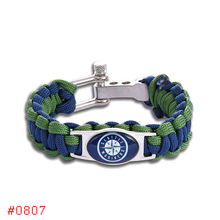 Seattle Mariners Custom Paracord Bracelet MLB Baseball Charm Bracelet Survival Bracelet , Drop Shipping! 6Pcs/lot!