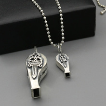 925 Sterling Silver Big Whistle Pendant Creative Personality Pendant Can Be Thrown Thai Silver Punk Necklace men women