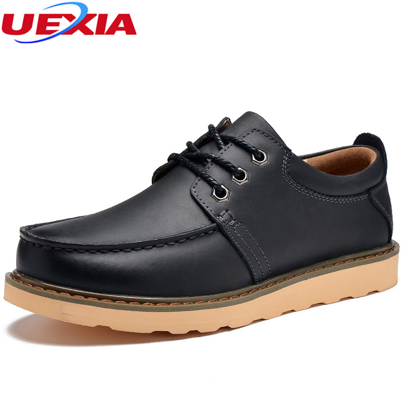 UEXIA New Men Platform Shoes Lace-Up Fashion Solid Footwear Spring Autumn Leather Fashion Comfortable Business Office Men Flats<br>