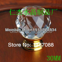 10pcs 30mm Diamond Crystal Glass Pull Handle Cabinet Drawer Door(China)