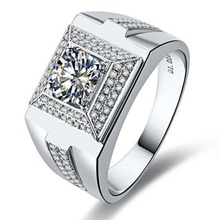 Generous Male Ring 1CT Men Jewelry Synthetic Diamonds Ring Male Jewellery Engagement Sterling Silver Jewelry White Gold Color