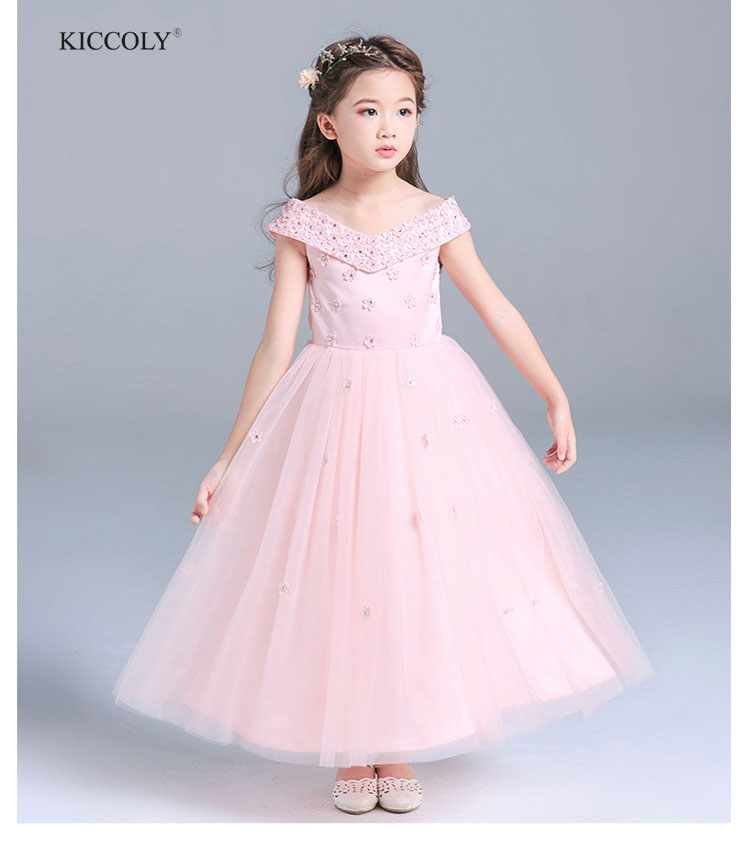 2018 Pink Girl Dress Princess Kids Satin Embroidery Flowers Sticky Beads Shoulderless Wedding Dress Children Party Dress 4-16T<br>