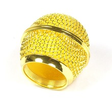 Bolymic 1x Mesh Microphone Grille for Shure SM58 565SD-LC microfono Microphone ,Gold Plated