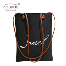 Aosbos Women Letter Canvas Reusable Shopping Bags Casual Portable Grocery Bag High Quality Storage Handbag Tote wholesale(China)