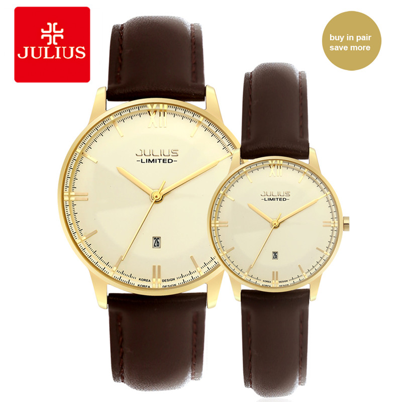 Wedding Couple Watches Couple 2018 Lover Stainless Steel Case Genuine Leather Strap Simple Quartz Waterproof Lovers Watch C1<br>
