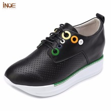 INOE new fashion style women casual hidden heel summer shoes sneakers genuine cow leather lace up mesh shoes black high quality(China)