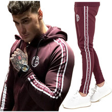 Gyms New Men's Sets 2018 Fashion Sportswear Tracksuits Sets Men's Shark Hoodies+Pants casual Outwear Suits(China)