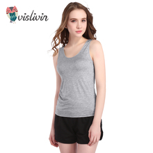 Vislivin 2017 Summer Adjustable Strap Built In Bra Padded Bra Modal Tank Sexy Women Top Camisole Cotton Cami(China)