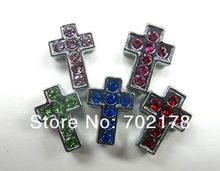 8mm zinc alloy and color rhinestone Cross 100pcs Slide Charms Fit 8mm Wristband and Pet Dog Cat Tag Collar free shipping
