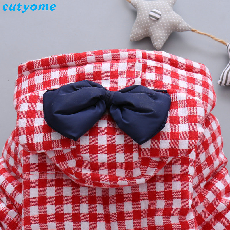 Cutyome Newborn Baby Girls Outwear Coats Hooded Plaid With Bow Cotton Winter Jackets Children Infant Padded Thick Jacket Clothes (21)