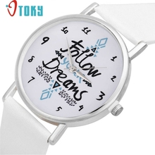 feminino watch women Geneva Women Follow Dreams Words Pattern Leather Watch White Ma17 Dropshipping