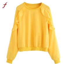 Mesh Shirt Sexy Women Yellow Hoodies Sweatshirts Round Neck Long Sleeve Jumper Pullover Loose Casual Party Female Tracksuit(China)