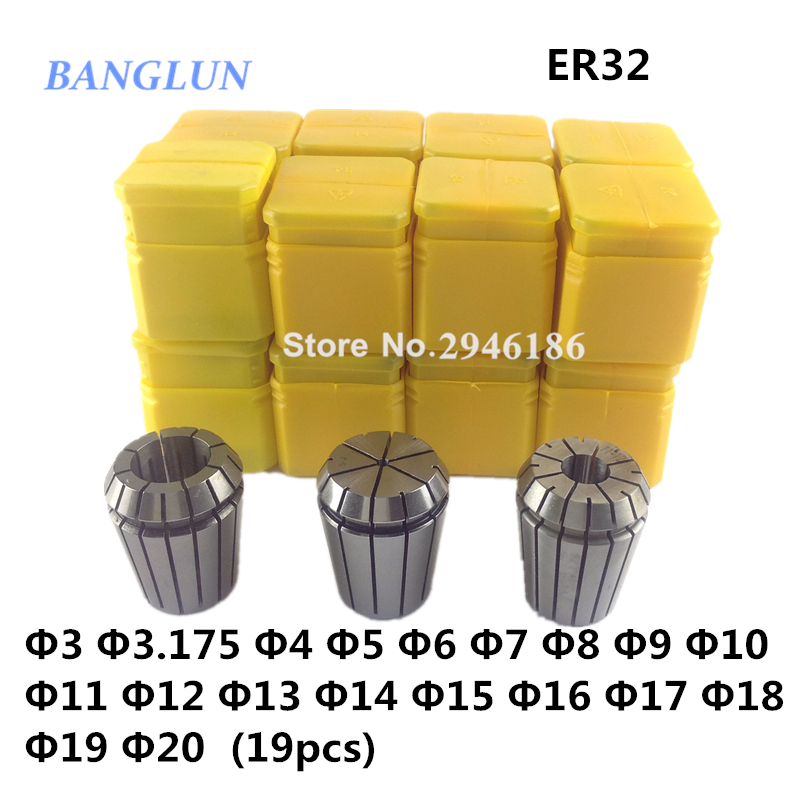 ER32 collet set 19pcs er32 collet chuck milling spindle machine lathe accessories <br>