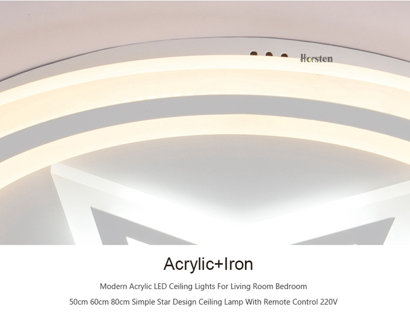 Modern Acrylic LED Ceiling Lights For Living Room Bedroom 50cm 60cm 80cm Simple Star Design Ceiling Lamp With Remote Control 220V (13)
