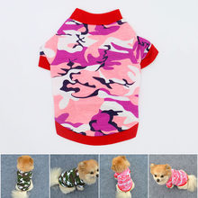 2019 Spring Fashion Pet Clothing Cat Cotton Shirt Camouflage T-shirt Comfortable Puppy Clothes Small Dog Pullover Sweater XS - L(China)