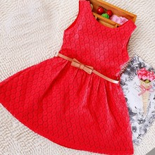 Berngi Summer Sundress Lace Cotton Little Girl Backless Dresses Girls Sleeveless Beach Dress Kids Vest Christmas Gift  Free Belt