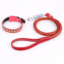 2017 Large Dog Genuine Leather Collar Leash Lead Set Jeweled Necklace Durable Strong Strap for Golden Retriever Husky Training