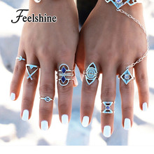 8pcs/set Boho Indian Jewelry Antique Silver Blue Enamel Geometric Moon Circle Finger Ethnic Knuckle Midi Rings sets for Women