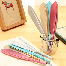 2PCS/LOT GENKKY kawaii Imitation metal rods feathers neutral pen cute cartoon Gel Ink pen creative pen
